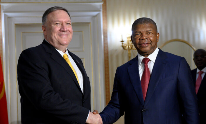 Angolan President João Lourenço meets with U.S. Secretary of State Mike Pompeo at the Presidential Palace in Luanda, Angola, on Feb. 17, 2020. (Andrew Caballero-Reynolds/Pool via Reuters)