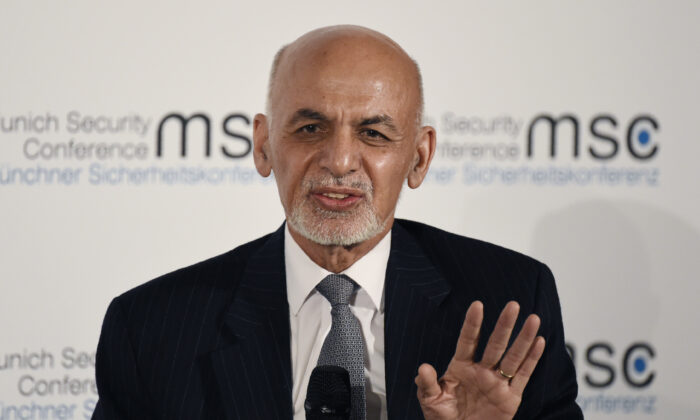 Afghan President Ashraf Ghani speaks at the Munich Security Conference, in Munich, Germany, on Feb. 15, 2020. (Jens Meyer/AP Photo/File)