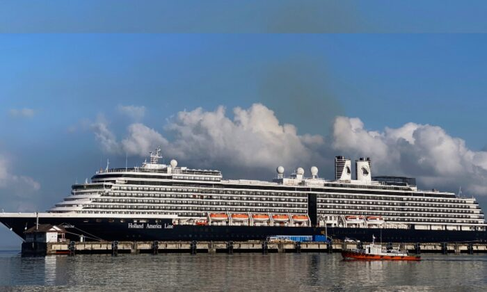 The cruise ship MS Westerdam at dock in the port of Sihanoukville, Cambodia, on Feb. 16, 2020. (Matthew Tostevin/File Photo/Reuters)