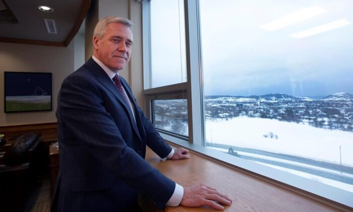 Newfoundland and Labrador Premier Dwight Ball poses for a picture in his office at the Confederation Building in St. John's on Feb. 18, 2020. (The Canadian Press/Paul Daly)