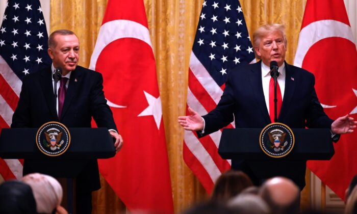 U.S. President Donald Trump and Turkey's President Recep Tayyip Erdogan take part in a joint press conference in the East Room of the White House in Washington on Nov. 13, 2019. (Jim Watson/AFP via Getty Images)