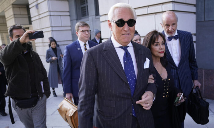 Former adviser to President Donald Trump, Roger Stone, departs the E. Barrett Prettyman United States Courthouse in Washington on Nov. 15, 2019. (Win McNamee/Getty Images)