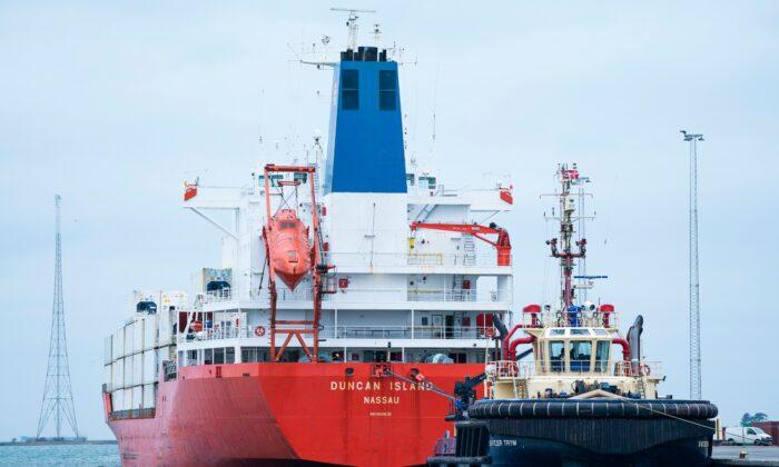 The cargo ship Duncan Island in Kalundborg Harbour in Denmark on  Feb. 16, 2020. (Claus Bech/Ritzau Scanpix via AP)