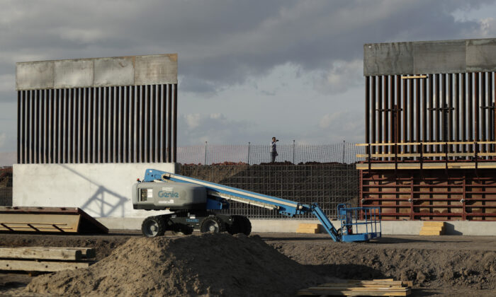 The first panels of levee border wall are seen at a construction site along the U.S.-Mexico border, in Donna, Texas, on Nov. 7, 2019. (Eric Gay/AP Photo)