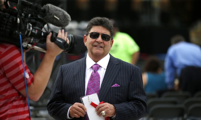Former owner of the San Francisco 49ers Edward DeBartolo, Jr., is interviewed before the Pro Football Hall of Fame ceremony at Tom Benson Hall of Fame Stadium in Canton, Ohio on Aug. 8, 2015. (Gene Puskar/AP Photo)