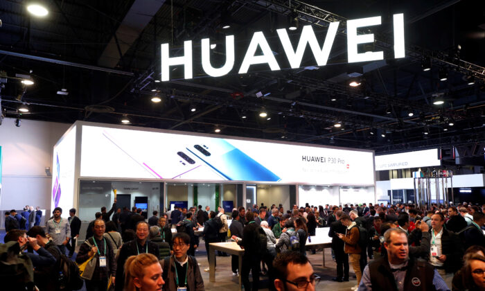 The Huawei booth is shown during the 2020 CES in Las Vegas, Nevada, U.S. on Jan. 7, 2020. (Steve Marcus/Reuters)
