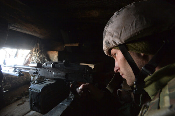 A serviceman is seen at a position on the front line near the village of Zolote in the eastern Ukrainian region of Luhansk, Ukraine February 14, 2020. (Oleksandr Klymenko/Reuters)