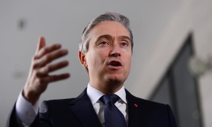 Minister of Foreign Affairs Francois-Philippe Champagne speaks to reporters in Addis Ababa, Ethiopia on Feb. 9, 2020. (Sean Kilpatrick/The Canadian Press)