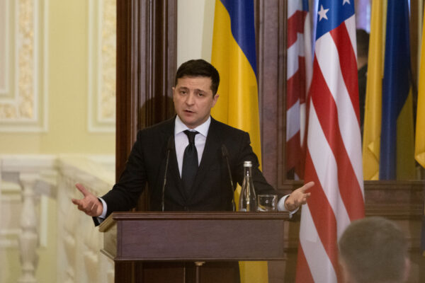 Ukraine President Volodymyr Zelensky attends a press conference with US Sec. of State Mike Pompeo at the president's office on January 31, 2020 in Kyiv, Ukraine. (Anastasia Vlasova/Getty Images)