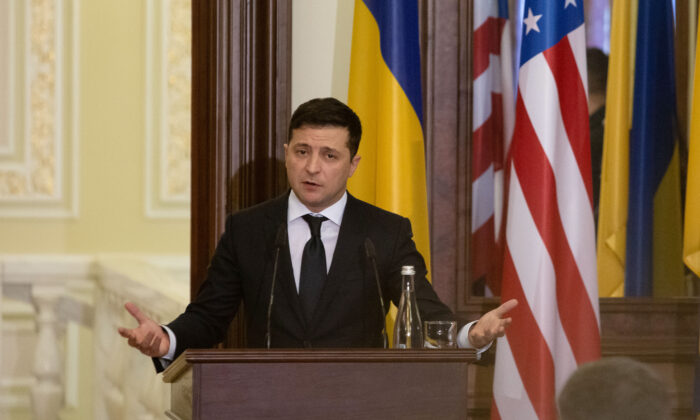 Ukraine President Volodymyr Zelensky attends a press conference in Kyiv, Ukraine, on Jan. 31, 2020. (Anastasia Vlasova/Getty Images)
