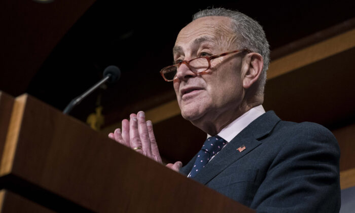 Minority Leader Sen. Chuck Schumer (D-N.Y.) participates in a news conference following the bipartisan Senate vote on the War Powers Resolution on Iran at the Capitol in Washington on Feb. 13, 2020.  Sarah Silbiger/Getty Images