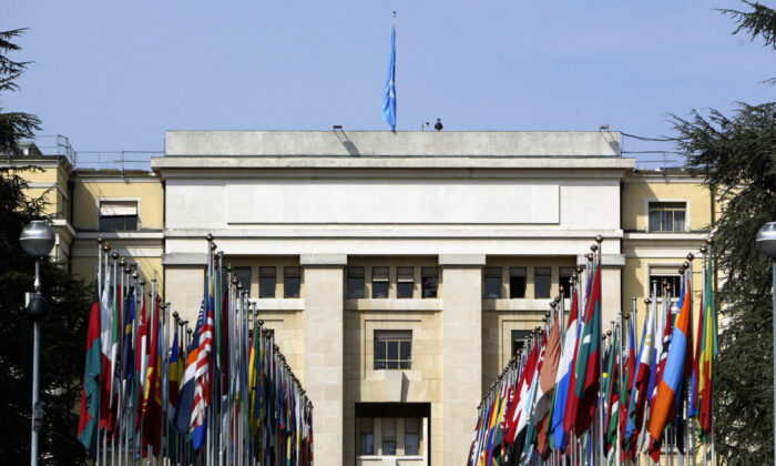 View of the main entrance of the Palace of Nations (Palais des Nations) which houses the European headquarters of the UN, in Geneva, on May 28, 2004. The building, built between 1929 and 1936, originally housed the League of Nations. (John Macdougall/AFP via Getty Images)