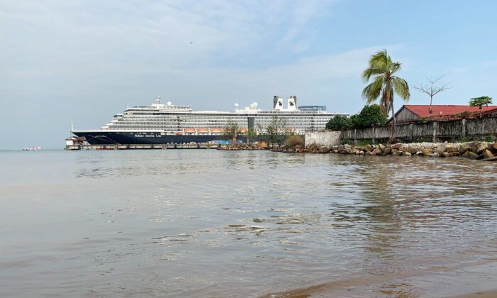 The MS Westerdam cruise ship is docked at the pier in Sihanoukville, Cambodia on Feb. 19, 2020. (Clare Baldwin/Reuters)