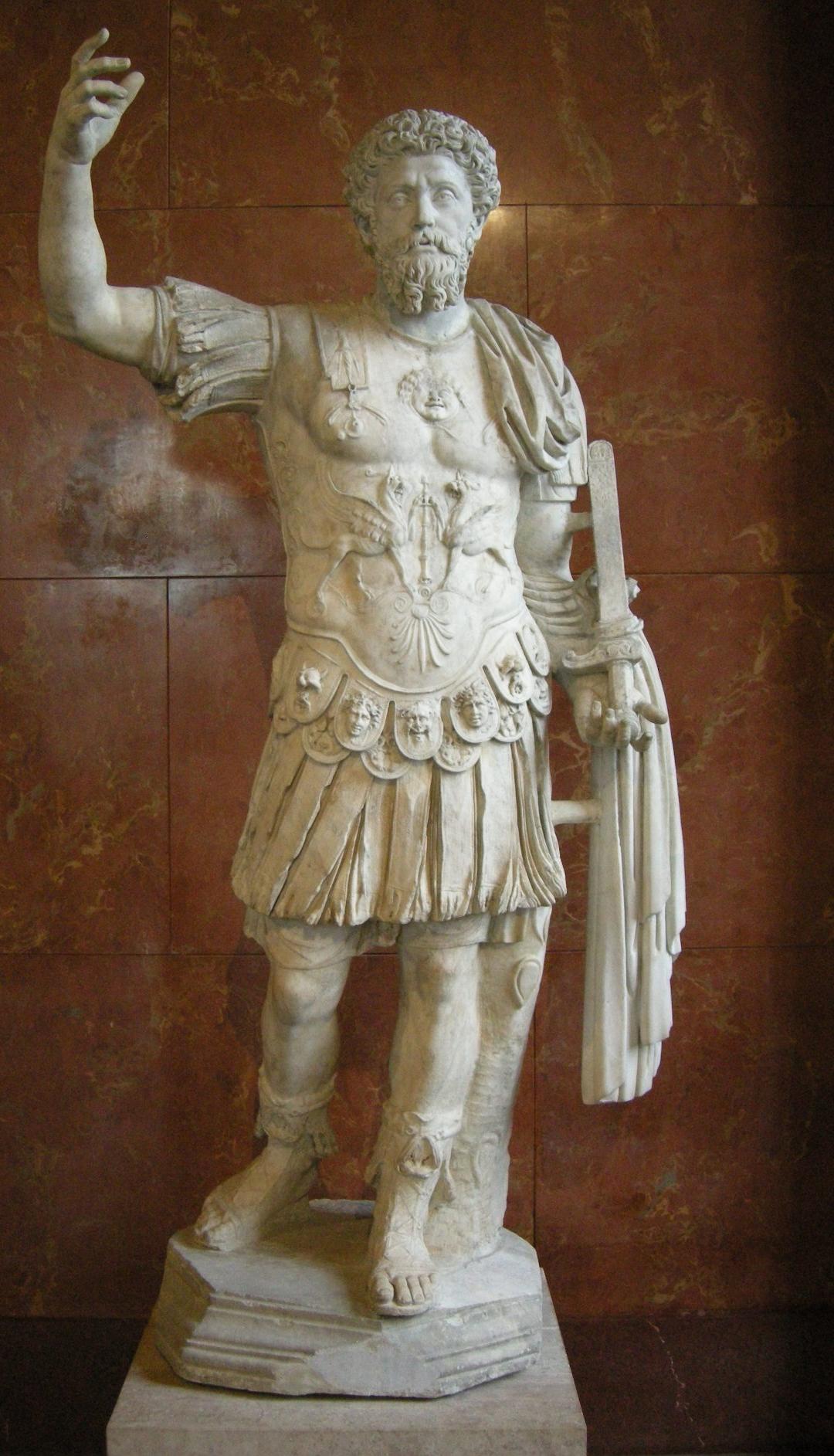 Marcus Aurelius full-length statue in the Louvre