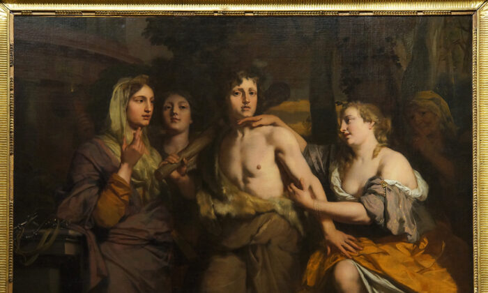 """""""Hercules Between Vice and Virtue,"""" second half of 17th century, by Gérard de Lairesse. Oil on Canvas, 44 inches by 71.2 inches. Louvre Museum, Paris. (Public Domain)"""