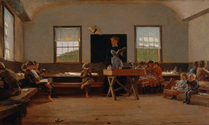 "At one time, the crucial component in education was forming a child's character. ""The Country School,"" 1871, by Winslow Homer. St.Louis Art Museum. (Public Domain)"