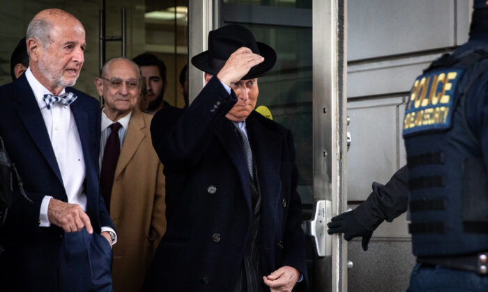 Roger Stone, former adviser to President Donald Trump, leaves the Federal Court after a sentencing hearing in Washington, on Feb. 20, 2020. (Samira Bouaou/Epoch Times)