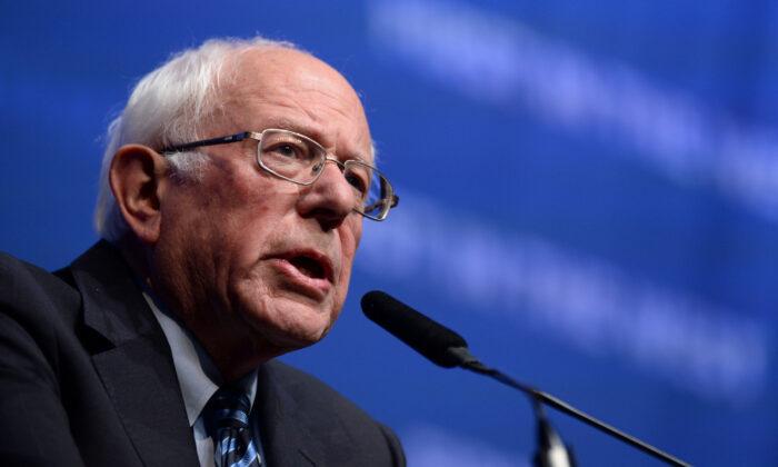 "Democratic presidential candidate Sen. Bernie Sanders (I-Vt.) speaks on stage at ""First in the West"" event in Las Vegas, Nev., on Nov. 17, 2019.  Bridget Bennett/AFP via Getty Images"