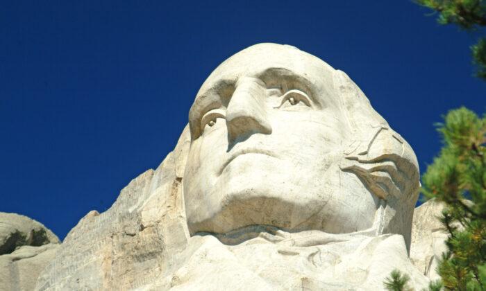 The face of George Washington on Mt. Rushmore, in Keystone, South Dakota. (Courtesy of Fred J. Eckert)