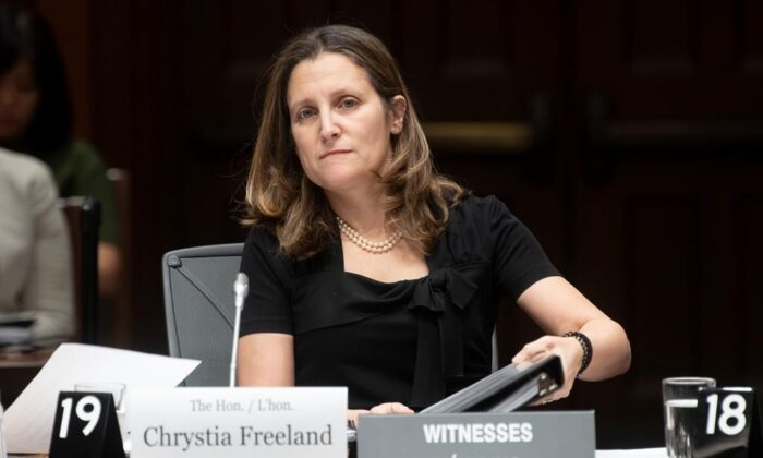 Deputy Prime Minister and Minister of Intergovernmental Affairs Chrystia Freeland waits to appear before the House of Commons Standing Committee on International Trade in Ottawa on Feb.18, 2020. (Adrian Wyld/Canadian press)