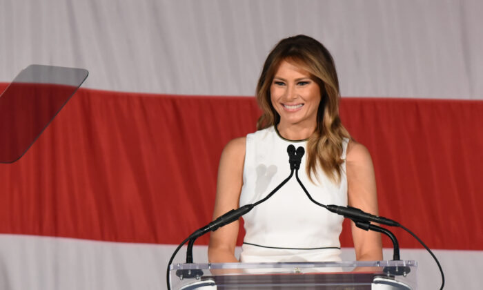 First Lady Melania Trump delivers remarks at Palm Beach Atlantic University's Women of Distinction Luncheon in Palm Beach, Florida, on Feb. 19, 2020. (Michele Eve Sandberg/AFP via Getty Images)