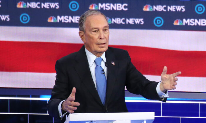 Democratic presidential candidate former New York City mayor Mike Bloomberg speaks during the Democratic presidential primary debate at Paris Las Vegas in Las Vegas, Nevada on Feb. 19, 2020. (Mario Tama/Getty Images)