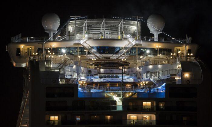 The quarantined Diamond Princess cruise ship sits docked at the Daikoku Pier at night in Yokohama, Japan, on Feb. 20, 2020. (Tomohiro Ohsumi/Getty Images)