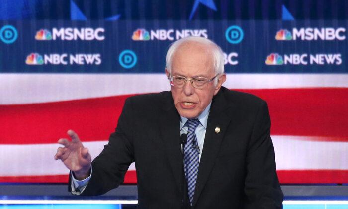 Democratic presidential candidate Sen. Bernie Sanders (I-Vt.) during the Democratic presidential primary debate at Paris Las Vegas in Nevada on Feb. 19, 2020. (Mario Tama/Getty Images)
