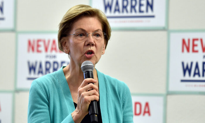 Former Democratic presidential candidate Sen. Elizabeth Warren (D-Mass.) in North Las Vegas, Nev., on Feb. 20, 2020. (David Becker/Getty Images)