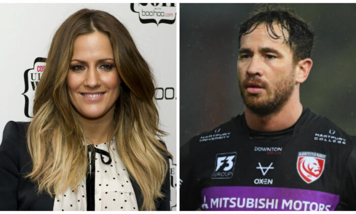 L-British TV personality Caroline Flack. (Jonathan Short/AP photo); R-Danny Cipriani of Gloucester Rugby. (Harry Trump/Getty Images)