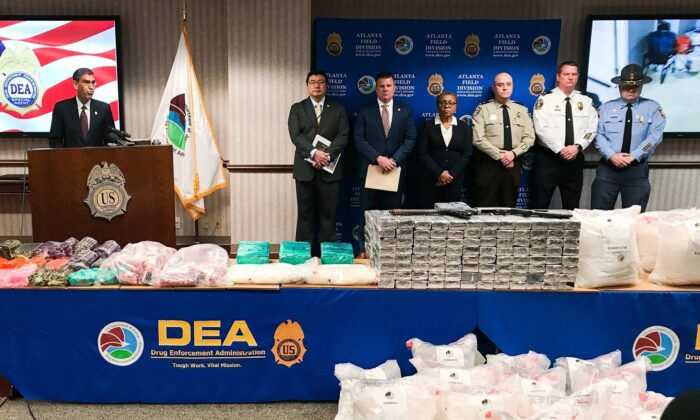 U.S. Drug Enforcement Administration Acting Administrator Uttam Dhillon announced the launch of Operation Crystal Shield at a news conference in Atlanta on Feb. 20, 2020. (Angie Wang/AP Photo)
