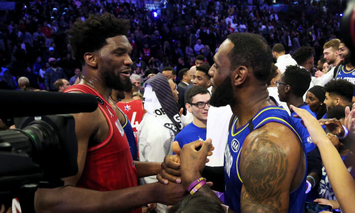 Joel Embiid #24 of Team Giannis and LeBron James #2 of Team LeBron meet after Team LeBron beat Team Giannis 157-155 in the 69th NBA All-Star Game at the United Center in Chicago, Illinois on Feb. 16, 2020. (Jonathan Daniel/Getty Images)