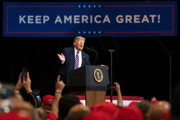 President Donald Trump delivers remarks at a Keep America Great rally in Las Vegas