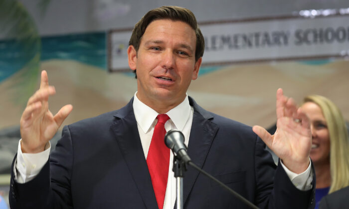 Florida Gov. Ron DeSantis announces that he wants to raise the minimum starting salary for teachers during a press conference held at Bayview Elementary School in Fort Lauderdale, Florida, on Oct. 7, 2019. (Joe Raedle/Getty Images)