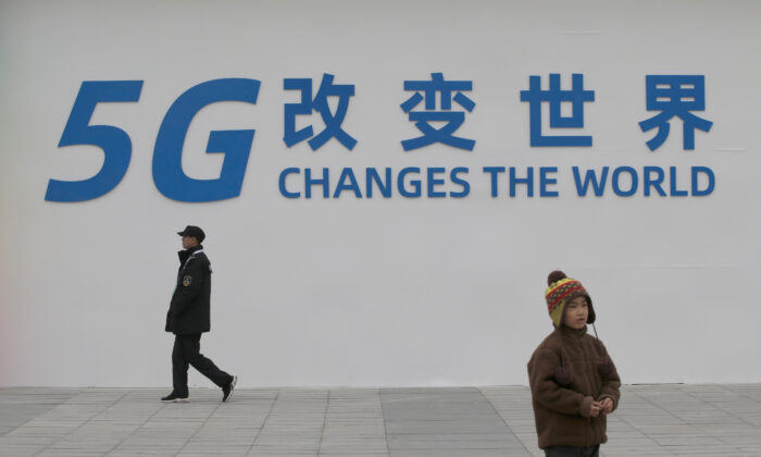 A sign for the World 5G Exhibition is seen in Beijing, China, on Nov. 22, 2019. (Jason Lee/Reuters)