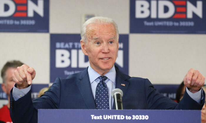 Democratic presidential candidate former Vice President Joe Biden speaks about his plan to curb gun violence in Las Vegas, Nev., on Feb. 20, 2020. (Mario Tama/Getty Images)