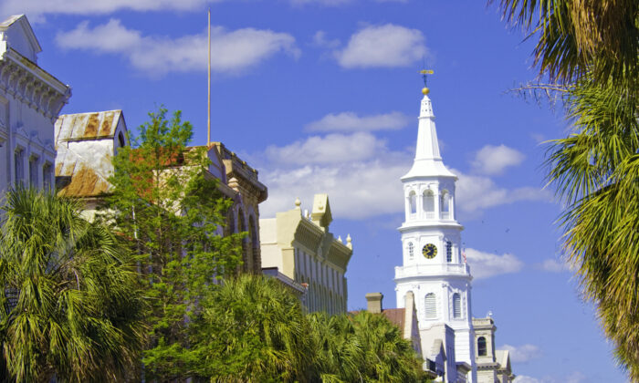 "Locals jokingly call Charleston ""the Holy City"" because when you look across its low skyline, you see so many spires and steeples piercing the view—181 of them, including from this one, Saint Michael's Episcopal Church, where George Washington and Robert E. Lee both worshiped. (Fred J. Eckert)"