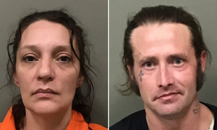 Angela Boswell and William McCloud were arrested and charged in connection with an AMBER alert for 15-month-old Evelyn Boswell, who was last seen two months ago. (Wilkes County Sheriff's Department)