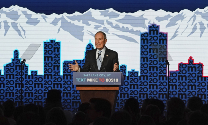 Democratic presidential candidate, Mike Bloomberg talks to supporters at a rally in Salt Lake City, Utah on Feb. 20, 2020. (George Frey/Getty Images)