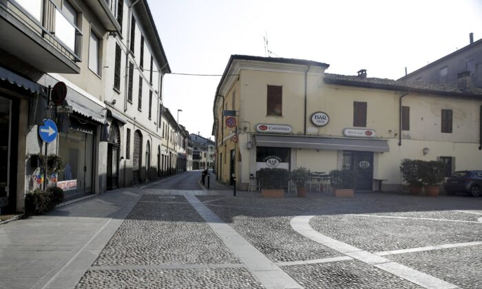 A deserted road in the town of Codogno, near Lodi, Northern Italy on Feb. 22, 2020. (Luca Bruno/AP Photo)