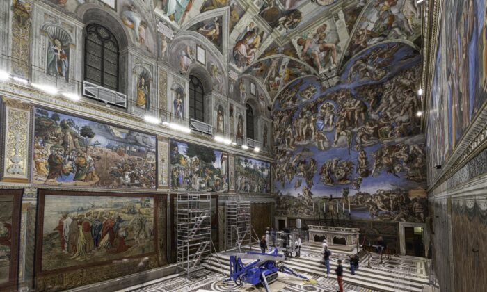 Pope Leo X commissioned Raphael to design tapestries for the lower walls of the  Sistine Chapel, to complement the biblical stories already painted by preeminent 15th century painters, and of course, by Michelangelo. (Governatorato SCV – Direzione dei Musei)