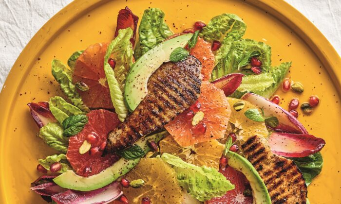 Cookbook author Adeena Sussman's sumac grilled chicken, citrus, and avocado salad, from 'Sababa,' is the perfect sunny winter salad. (Dan Perez)