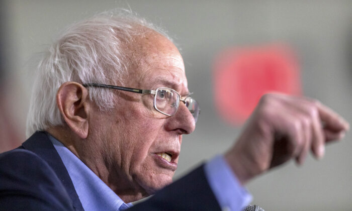 Democratic presidential candidate Sen. Bernie Sanders speaks during a news conference in Santa Ana, Calif., on Feb. 21, 2020. (David McNew/Getty Images)