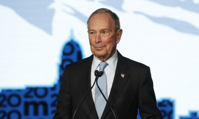 Democratic presidential candidate, Mike Bloomberg talks to supporters at a rally in Salt Lake City, Utah, on Feb. 20, 2020. (George Frey/Getty Images)