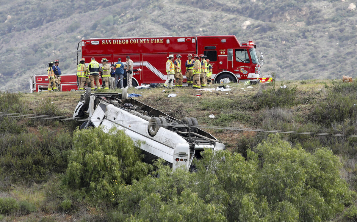 Charter Bus Rollover Kills 3, Injures 18 Outside...