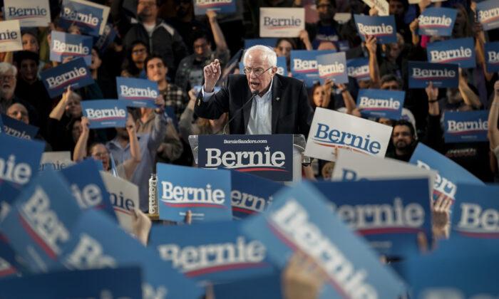 Democratic presidential candidate Sen. Bernie Sanders (I-VT) speaks at the University of Houston on Feb. 23, 2020. (Drew Angerer/Getty Images)