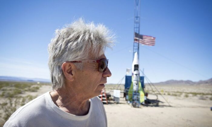 """""""Mad"""" Mike Hughes reacts after the decision to scrub another launch attempt of his rocket near Amboy, California, on March 6, 2018. (James Quigg/Daily Press via AP, File)"""