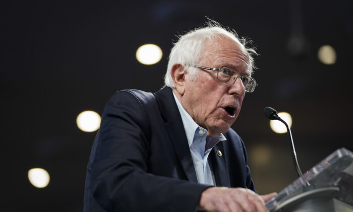 Democratic presidential candidate Sen. Bernie Sanders (I-Vt.) speaks during a campaign rally in Houston, Texas, on Feb. 23, 2020. (Drew Angerer/Getty Images)