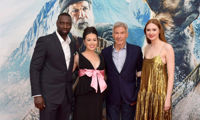 "(L-R) Omar Sy, Cara Gee, Harrison Ford, and Karen Gillan attend the Premiere of 20th Century Studios' ""The Call of the Wild"" at El Capitan Theatre in Los Angeles, Calif., on Feb. 13, 2020. (Matt Winkelmeyer/Getty Images)"