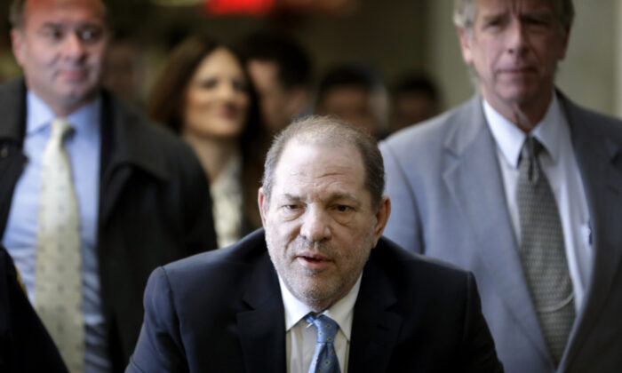 Harvey Weinstein arrives at a Manhattan courthouse for his rape trial in New York City, on Feb. 24, 2020. (Seth Wenig/AP Photo)